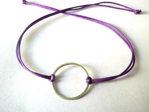 Good karma sterling silver bracelet ,Circle bracelet,Purple nylon cord