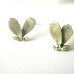 Little bee sterling silver studs-Hand sculpture earrings-Lost wax method-Minimal earrings
